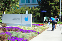 Sept. 6, 2011 - Cupertino, California - U.S. - People take pictures at th Apple Inc. world headquarters Monday September 5, 2011. Apple is one of the worlds most valuable companies by market capitalization and recently eclipsed Exxon Mobile with a Market worth of about $349.32 billion. Iconic CEO Steve Jobs resigned on August 24, 2011, and the Board named Tim Cook, previously Apple's Chief Operating Officer, as the company's new CEO. (Credit Image: Alan Greth/ZUMAPress.com).