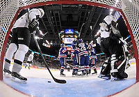 Rochester Americans players celebrate a goal in the first period of an AHL hockey game against the San Antonio Rampage, Saturday, Jan. 18, 2014, in San Antonio (Darren Abate/AHL)