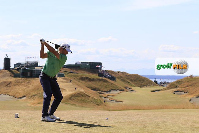 Kevin Kisner (USA) tees off the 10th tee during Saturday's Round 3 of the 2015 U.S. Open 115th National Championship held at Chambers Bay, Seattle, Washington, USA. 6/21/2015.<br /> Picture: Golffile | Eoin Clarke<br /> <br /> <br /> <br /> <br /> All photo usage must carry mandatory copyright credit (&copy; Golffile | Eoin Clarke)