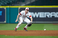 O'Neal Lochridge (7) of the Louisiana Ragin' Cajuns on defense against the Mississippi State Bulldogs in game three of the 2018 Shriners Hospitals for Children College Classic at Minute Maid Park on March 2, 2018 in Houston, Texas.  The Bulldogs defeated the Ragin' Cajuns 3-1.   (Brian Westerholt/Four Seam Images)
