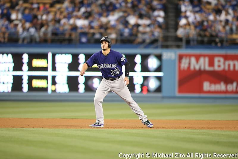 June 7, 2016, Los Angeles, CA: Colorado Rockies third baseman Nolan Arenado #28 during a MLB game played at Dodger Stadium between the colorado Rockies and Los Angeles Dodgers