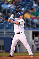 Tulsa Drillers outfielder Jared Simon (6) at bat during a game against the Midland RockHounds on May 31, 2014 at ONEOK Field in Tulsa, Oklahoma.  Tulsa defeated Midland 5-3.  (Mike Janes/Four Seam Images)