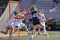 College Park, MD - April 27, 2019: John Hopkins Bluejays Aurora Cordingley (45) scores a goal during the game between John Hopkins and Maryland at  Capital One Field at Maryland Stadium in College Park, MD.  (Photo by Elliott Brown/Media Images International)