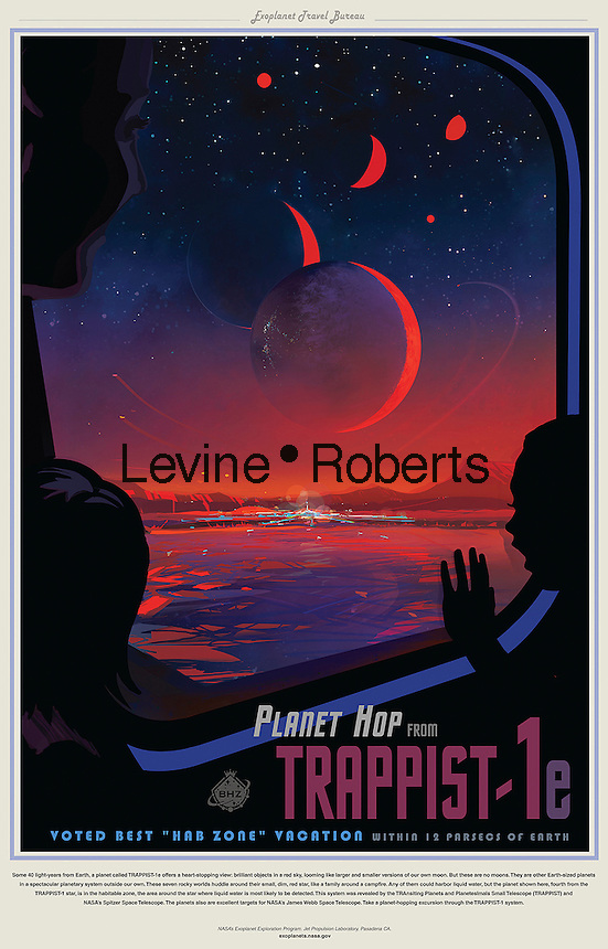 A NASA poster promoting the discovery of planets that possible could support life. Some 40 light-years from Earth, a planet called TRAPPIST-1e offers a heart-stopping view: brilliant objects in a red sky, looming like larger and smaller versions of our own moon. But these are no moons. They are other Earth-sized planets in a spectacular planetary system outside our own. These seven rocky worlds huddle around their small, dim, red star, like a family around a campfire. Any of them could harbor liquid water, but the planet shown here, fourth from the TRAPPIST-1 star, is in the habitable zone, the area around the star where liquid water is most likely to be detected. This system was revealed by the TRansiting Planets and PlanetIsmals Small Telescope (TRAPPIST) and NASA's Spitzer Space Telescope. The planets are also excellent targets for NASA's James Webb Space Telescope.