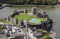 Pictured: Aerial view of Pembroke Castle, west Wales, UK. STOCK PICTURE<br /> Re: Researchers believe they might have uncovered the location of Henry VII's birthplace at Pembroke Castle.<br /> Aerial photographs from 2013 gave glimpses of what lay beneath the surface, with parch marks revealing possible buildings.<br /> A geophysical survey has now confirmed the outline of a late-medieval building in the outer ward, where the king could have been born.<br /> Neil Ludlow, consultant archaeologist, said it shone new light on the castle.<br /> Much of the interior of the castle, which dates from the 11th Century, was destroyed after the Middle Ages.