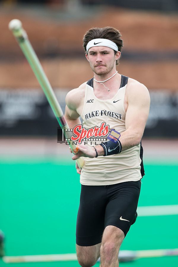 Michael Cyphers of the Wake Forest Demon Deacons competes in the men's pole vault at the Wake Forest Open on March 20, 2015 in Winston-Salem, North Carolina.  (Brian Westerholt/Sports On Film)
