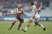 20130309 Copyright onEdition 2013©.Free for editorial use image, please credit: onEdition..Ben Botica of Harlequins looks to side step Kyle Eastmond of Bath Rugby during the LV= Cup semi final match between Harlequins and Bath Rugby at The Twickenham Stoop on Saturday 9th March 2013 (Photo by Rob Munro)..For press contacts contact: Sam Feasey at brandRapport on M: +44 (0)7717 757114 E: SFeasey@brand-rapport.com..If you require a higher resolution image or you have any other onEdition photographic enquiries, please contact onEdition on 0845 900 2 900 or email info@onEdition.com.This image is copyright onEdition 2013©..This image has been supplied by onEdition and must be credited onEdition. The author is asserting his full Moral rights in relation to the publication of this image. Rights for onward transmission of any image or file is not granted or implied. Changing or deleting Copyright information is illegal as specified in the Copyright, Design and Patents Act 1988. If you are in any way unsure of your right to publish this image please contact onEdition on 0845 900 2 900 or email info@onEdition.com