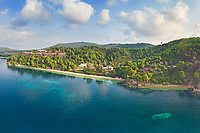 The beaches Maratha and Katharina of Skiathos island from drone view, Greece
