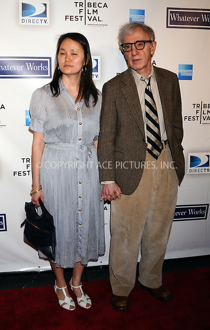 WWW.ACEPIXS.COM . . . . . ....April 22 2009, New York City....Woody Allen and Soon-Yi Previn arriving at the premiere of 'Whatever Works' during the 2009 Tribeca Film Festival at Ziegfeld on April 22, 2009 in New York City.....Please byline: AJ SOKALNER - ACEPIXS.COM.. . . . . . ..Ace Pictures, Inc:  ..tel: (212) 243 8787 or (646) 769 0430..e-mail: info@acepixs.com..web: http://www.acepixs.com