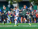 3 October 2015: Binghamton University Bearcat Midfielder Conrad Nowowiejski (22), a Freshman from Hollis Hills, NY, battles University of Vermont Catamount Forward Jaime Miralles, a Sophomore from Vinaros, Spain, during game action at Virtue Field in Burlington, Vermont. The Bearcats held on to defeat the Catamounts 2-1 in America East conference play. Mandatory Credit: Ed Wolfstein Photo *** RAW (NEF) Image File Available ***
