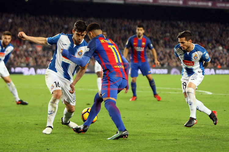 League Santander 2016/2017. Game: 16.<br /> FC Barcelona vs RCD Espanyol: 4-1.<br /> Javi Lopez, Neymar Jr. &amp; Pablo Piatti.