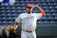 Infielder Art Charles (24) of the Lakewood BlueClaws before a game against the Greenville Drive on Wednesday, April 24, 2013, at Fluor Field at the West End in Greenville, South Carolina. Lakewood won, 7-5. (Tom Priddy/Four Seam Images)