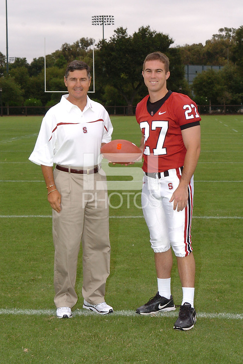 7 August 2006: Stanford Cardinal head coach Walt Harris and Jay Ottovegio during Stanford Football's Team Photo Day at Stanford Football's Practice Field in Stanford, CA.