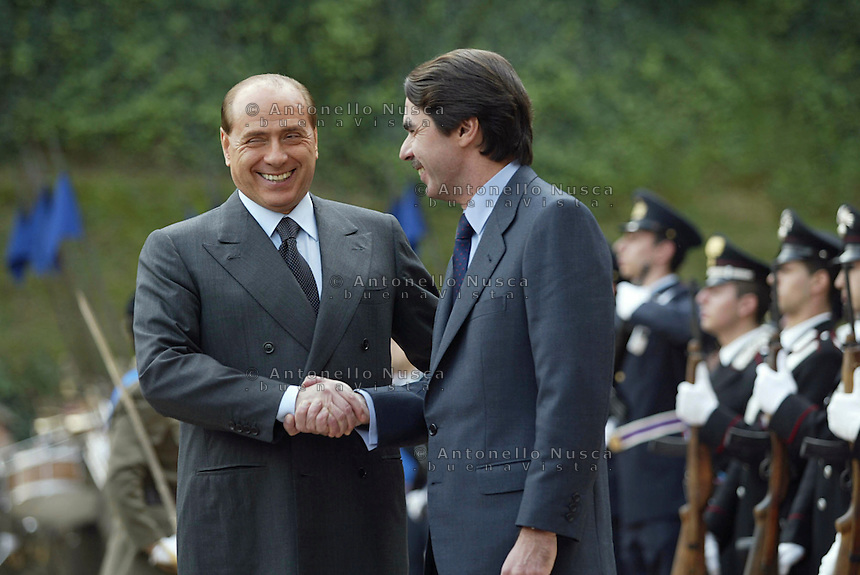 Roma, 28 Novembre, 2002. Berlusconi con Aznar al vertice Italia-Spagna.