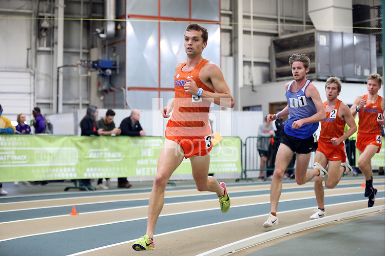 WINSTON-SALEM, NC - FEBRUARY 07: Jack Guyton #3 of the University of Florida competes in the Men's 5000 Meters at JDL Fast Track on February 07, 2020 in Winston-Salem, North Carolina.