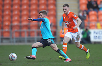 Fleetwood Town's Conor McAleny in action with Blackpool's Ollie Turton<br /> <br /> Photographer Mick Walker/CameraSport<br /> <br /> The EFL Sky Bet League One - Blackpool v Fleetwood Town - Saturday 14th April 2018 - Bloomfield Road - Blackpool<br /> <br /> World Copyright &copy; 2018 CameraSport. All rights reserved. 43 Linden Ave. Countesthorpe. Leicester. England. LE8 5PG - Tel: +44 (0) 116 277 4147 - admin@camerasport.com - www.camerasport.com