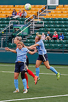 Rochester, NY - Saturday May 21, 2016: Sky Blue FC defender Christie Rampone (3), Western New York Flash midfielder Alanna Kennedy (8), and Sky Blue FC midfielder Nikki Stanton (7) battle for a header. The Western New York Flash defeated Sky Blue FC 5-2 during a regular season National Women's Soccer League (NWSL) match at Sahlen's Stadium.