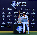 Rory McIlroy (IRE) with the trophy during the final round of the DP World Golf Championship played at the Earth Course, Jumeira Golf Estates, Dubai 19-22 November 2015. (Picture Credit / Phil Inglis )
