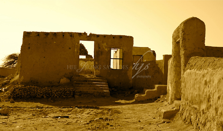 Ruins of an old deserted fishing and pearling village, Al Zubarah, on the West Coast of  Qatar, on the Arabian Peninsula | Jan 10
