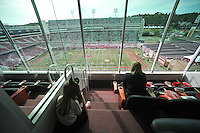 NWA Democrat-Gazette/MICHAEL WOODS • @NWAMICHAELW<br /> Cheryl (right) and Hannah Story of Fayetteville watch the pre game activities from the Arvest suite as the Razorbacks prepare to play Texas Tech Saturday September 19, 2015 at Razorback Stadium in Fayetteville.