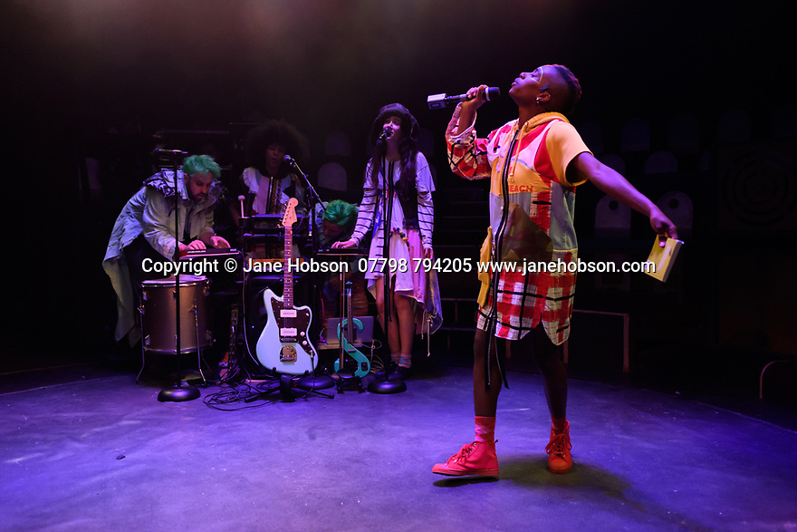 """Edinburgh, UK. 28.07.2019. Boundless Theatre and Boom Shakalaka present """"Parakeet"""", written by Brigitte Aphrodite, in the Paines Plough Roundabout, Summerhall, as part of the Edinburgh Festival Fringe. The performers are: Michelle Tiwo (GIRL), Isabel Oliver (DUST), Lula Mebrahtu (TAM), Brigitte Aphrodite (PARAKEET #1) and Quiet Boy (PARAKEET #2). Directed by Laura Keefe, with design by Alex Noble and lighting design by Sherry Coenen. Photograph © Jane Hobson."""