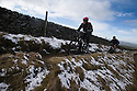 10/04/16 <br /> <br /> Cyclists make their way down Rushup Edge near Chapel-en-le-Frith after overnight snowfall in the Derbyshire Peak District.<br /> <br /> All Rights Reserved: F Stop Press Ltd. +44(0)1335 418365   +44 (0)7765 242650 www.fstoppress.com