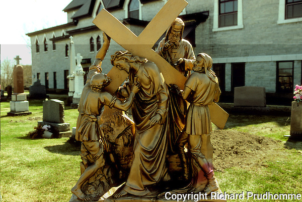 The stations of the Cross in the cemetery of the Sainte-Anne's church in Yamachiche, along the Chemin du Roy near Trois-Rivieres, Quebec
