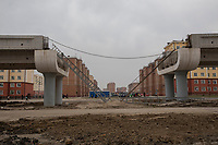 Uzbekistan - Tashkent - The new metro flyover being built in the working class neighborhood of Sergeli.