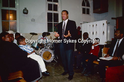 Church of God, fiery preaching after the baptism. London 1990.
