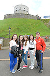 Sinead Meagher, Emma Gaffney, Jessica Ferris, Katie O'Connor and Evan Ryan at the open day at millmount as part of the Arts Festival. Photo:Colin Bell/pressphotos.ie