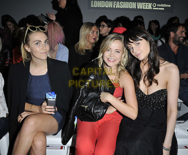 LONDON, ENGLAND - SEPTEMBER 12: Becky Tong, Poppy Jamie &amp; Lilah Parsons attend the Felder Felder S/S15 catwalk show, LFW Day 1, BFC Showspace, Somerset House  the Strand, on Friday September 12, 2014 in London, England, UK. <br /> CAP/CAN<br /> &copy;Can Nguyen/Capital Pictures