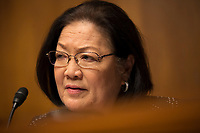 United States Senator Mazie Hirono (Democrat of Hawaii) questions Carlos Monje, Junior, the Director of Public Policy and Philanthropy at Twitter, and Neil Potts, the Public Policy Director at Facebook, on Capitol Hill in Washington DC on April 10, 2019.<br /> Credit: Stefani Reynolds / CNP/AdMedia