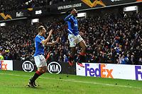 Joe Aribo of Rangers celebrates scoring he equaliser to make it two two during Rangers vs SC Braga, UEFA Europa League Football at Ibrox Stadium on 20th February 2020