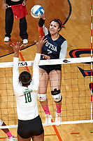 SAN ANTONIO, TX - OCTOBER 8, 2017: The University of Texas at San Antonio Roadrunners sweep the Marshall University Thundering Herd 3-0 (25-19, 25-14, 25-17) at the UTSA Convocation Center. (Photo by Jeff Huehn)