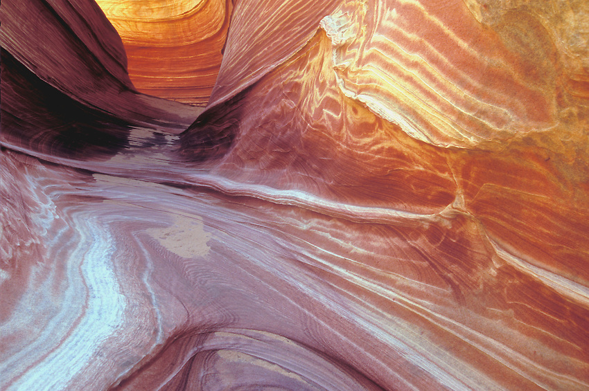 A brightly colored, sculptured sandstone tunnel leads you to The Wave, AZ