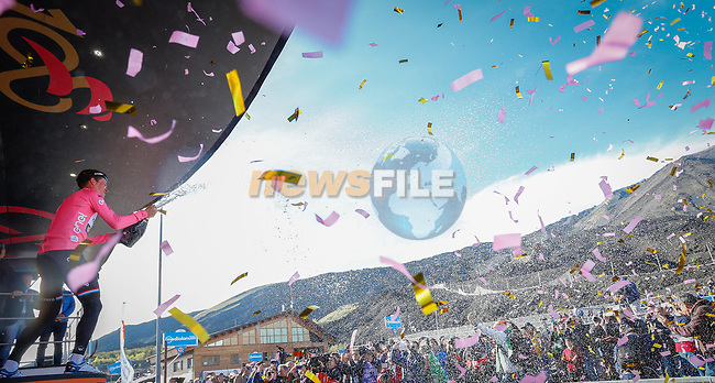Bob Jungels (LUX) Quick-Step Floors takes over the race leaders Maglia Rosa at the end of Stage 4 of the 100th edition of the Giro d'Italia 2017, running 181km from Cefalu to Mount Etna, Sicily, Italy. 9th May 2017.<br /> Picture: LaPresse/Simone Spada   Cyclefile<br /> <br /> <br /> All photos usage must carry mandatory copyright credit (&copy; Cyclefile   LaPresse/Simone Spada)