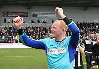 St Mirren captain Craig Samson celebrates after winning the Scottish Professional Football League Ladbrokes Championship at the Paisley 2021 Stadium, Paisley on 14.4.18.
