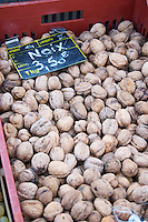 Walnuts for sale at a market stall at the market in Bergerac for 3.50 euro per kilo Bergerac Dordogne France