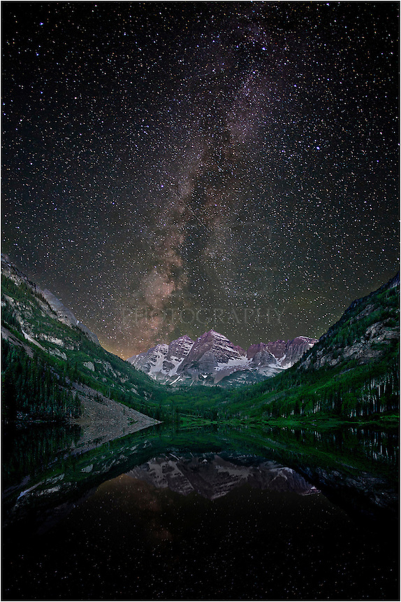 I went to Maroon Lake this night in order to figure out exactly where I wanted to shoot this image from Colorado. I knew the Milky Way would be moving across the bells early in the morning. I set the focal length, taped it down so it would not change, then tried to sleep for a while. I returned about 3am. This shot was taken about 3:45am as the Milky Way settled over the Maroon Bells. It is a two shot merge - one very long exposure to show the mountains lit by some moonlight, and a shorter exposure to capture the Milky Way. Maroon Lake was like glass - not even a bit of wind. It was really an amazing night, and I'm fortunate to capture this image of a Colorado icon.