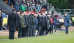 09.11.2019 St Johnstone v Hibs: Minutes silence from veterans on the touchline
