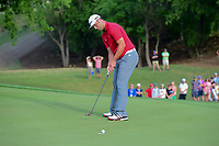Jon Rahm (ESP) sinks his putt on 18 during round 7 of the World Golf Championships, Dell Technologies Match Play, Austin Country Club, Austin, Texas, USA. 3/26/2017.<br /> Picture: Golffile | Ken Murray<br /> <br /> <br /> All photo usage must carry mandatory copyright credit (&copy; Golffile | Ken Murray)
