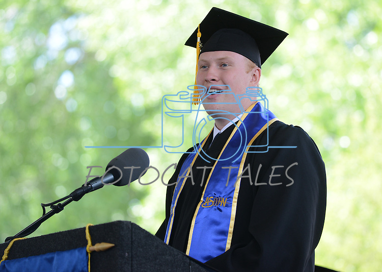 Tim Hoover, Associated Students of Western Nevada College president, speaks during the 2015 Western Nevada College Commencement held at the Pony Express Pavilion in Carson City, Nev., on Monday, May 18, 2015.<br /> Photo by Tim Dunn