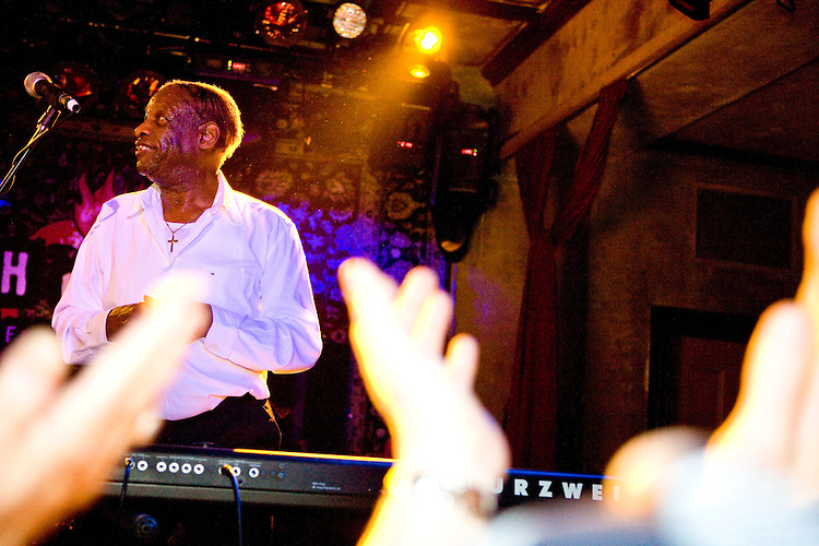 """Little Willie Littlefield performs at the 8th annual Ponderosa Stomp, held at the House of Blues in New Orleans on April 28, 2009.  <br /> <br /> Littlefield is a noted boogie woogie piano player from Texas who recorded his biggest hit """"It's Midnight"""" in 1949.  Although never quite recording another big hit Littlefield had a long career, touring extensively in Europe.  <br /> <br /> The Ponderosa Stomp is an annual music festival held in New Orleans since 2002 that celebrates the uncelebrated names in American musical history.  The festival spotlights musicians who have contributed to the American roots musical canon in various genres, from rockabilly to soul to rock and roll to jazz to experimental.  For two nights of the year these mostly forgotten names perform to an audience of aficionados whose memory has not faded and turn back the clock with blistering performances of the hits that did or (in the case of the regional musicians that plugged away unknown to the world at large, as well as those whose songs were recorded to acclaim by other musicians) did not make them famous.  <br /> <br /> In addition to the two nights of performances the Ponderosa Stomp Foundation (the non-profit founded by the eccentric Dr. Ira Padnos and his coterie of like minded music fanatics the Mystic Knights of the Mau Mau) also produces two days of the Music History Conference, where many of the performers, as well as other music industry names, share stories of their lives in the business.  The Conferences take place in the Louisiana State Museum at the Cabildo in Jackson Square."""