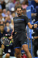FLUSHING NY- SEPTEMBER 02: Rafael Nadal reacts after winning he match against Vs Andrey Kuznelsov on Arthur Ashe Stadium at the USTA Billie Jean King National Tennis Center on September 2, 2016 in Flushing Queens. Credit: mpi04/MediaPunch