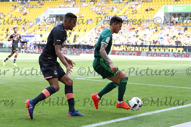 Tonny Sanabria unable to keep the ball in play watched by Brendan Galloway in the Everton v Real Betis match in the Bundeswehr Karriere Cup Dresden 2016 played at the DDV Stadion, Dresden on 30.7.16.