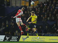 Fleetwood Town's Ashley Hunter vies for possession with Oxford United's Todd Kane<br /> <br /> Photographer Kevin Barnes/CameraSport<br /> <br /> The EFL Sky Bet League One - Oxford United v Fleetwood Town - Tuesday 10th April 2018 - Kassam Stadium - Oxford<br /> <br /> World Copyright &copy; 2018 CameraSport. All rights reserved. 43 Linden Ave. Countesthorpe. Leicester. England. LE8 5PG - Tel: +44 (0) 116 277 4147 - admin@camerasport.com - www.camerasport.com