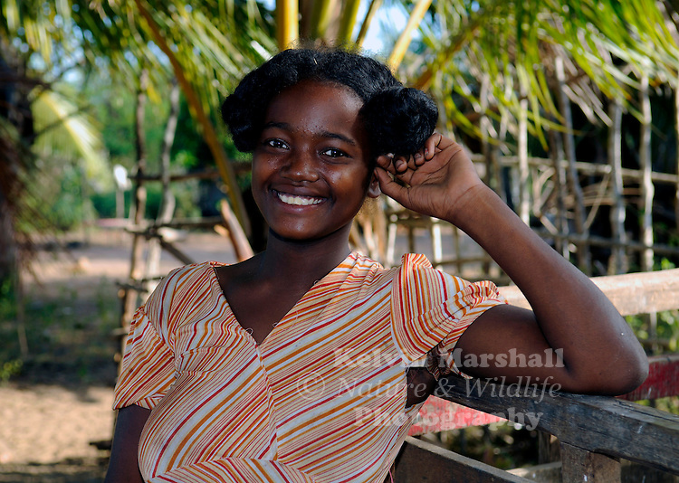 Local Young Malagasy lady smiles for the camera. Diego Suarez - Northern Madagascar.
