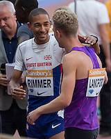 Kyle Langford of GBR and 5th placed Michael RIMMER of GBR (800m) during the Sainsbury's Anniversary Games, Athletics event at the Olympic Park, London, England on 25 July 2015. Photo by Andy Rowland.