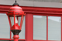 Ornate red street lamp in Chinatown, Vancouver, BC, Canada