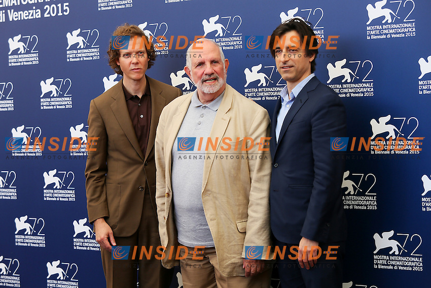 VENICE, ITALY - SEPTEMBER 09: Jake Paltrow,  Brian De Palma and Noah Baumbach attend 'The Wait' Photocall during 72nd Venice Film Festival at Palazzo Del Cinema on September 9, 2015 in Venice, Italy. (Mark Cape/insidefoto)